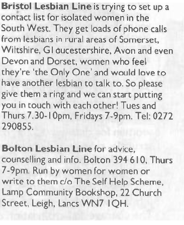 A advert for Bristol and Bolton Lesbian Lines as seen in Spare Rib (1988).