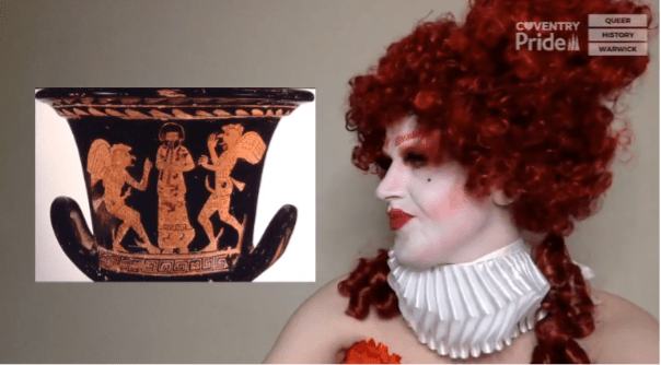 On the left is Ibi Profane sat in drag, with white painted skin and a red Elizabethan-esque wig. On the right is a photo of a Grecian vase.